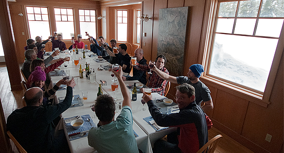 Group dining in the backcountry
